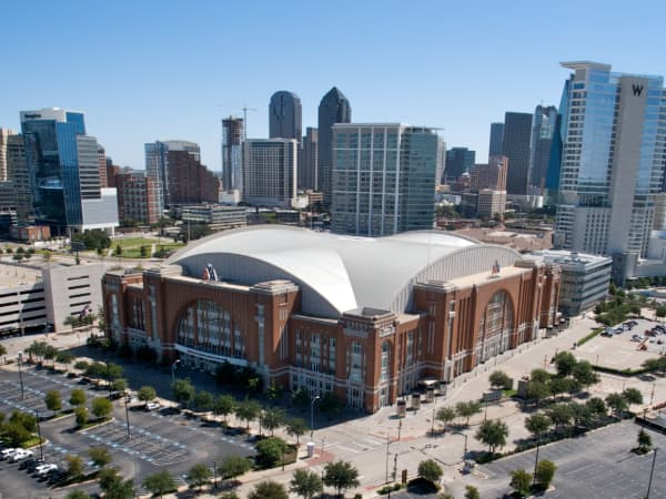 Aerial view of the American Airlines Center in Dallas