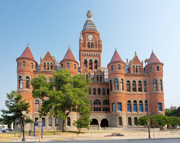 Exterior, street-level view of the Old Red Museum in Dallas