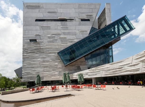 Exterior, ground-level view of the Perot Museum of Nature and Science in Dallas