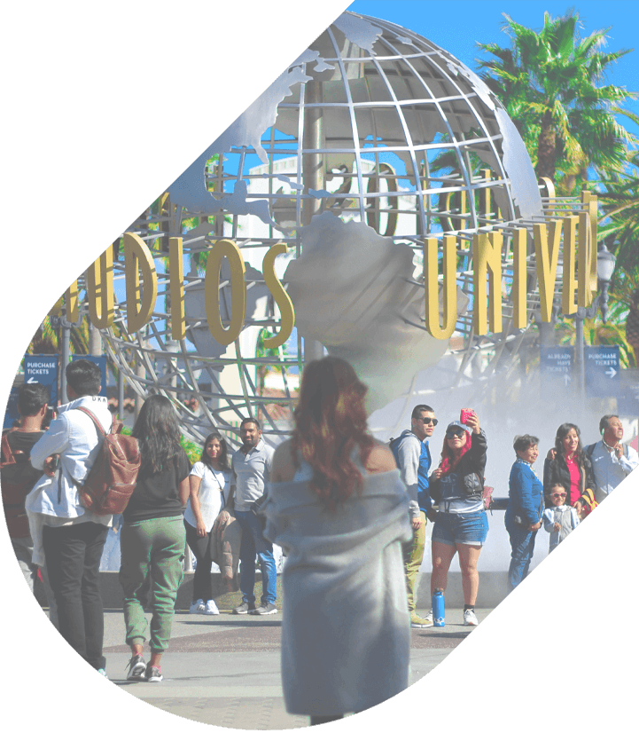 the iconic globe at the entrance of Universal Studios