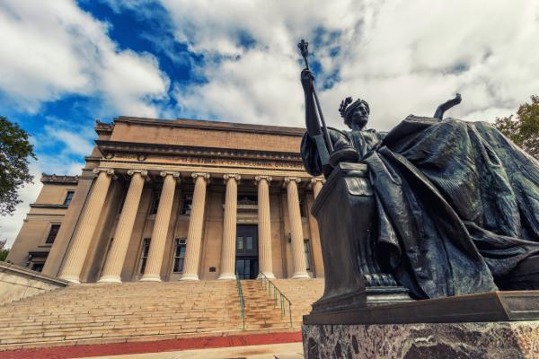 A bronze sculpture on the Columbia University campus in New York City