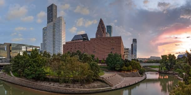 The Houston Theatre District viewed from across the river at sunset