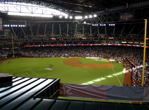 interior of Chase Field in Phoenix, viewed from the seats near the outfield