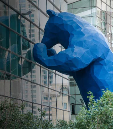 The stories-tall blue bear statue outside the Denver Museum of Nature and Science