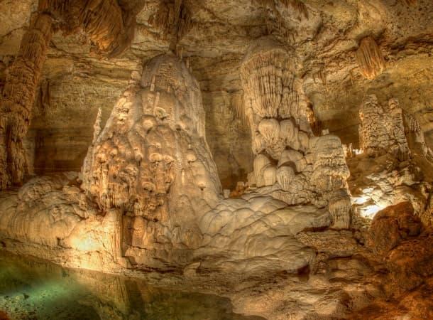 An illuminated cavern ceiling at Natural Bridge Caverns near San Antonio