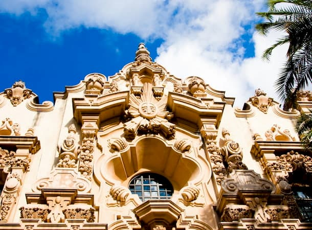 Exterior view of beautiful architecture adorning a building in Balboa Park in San Diego