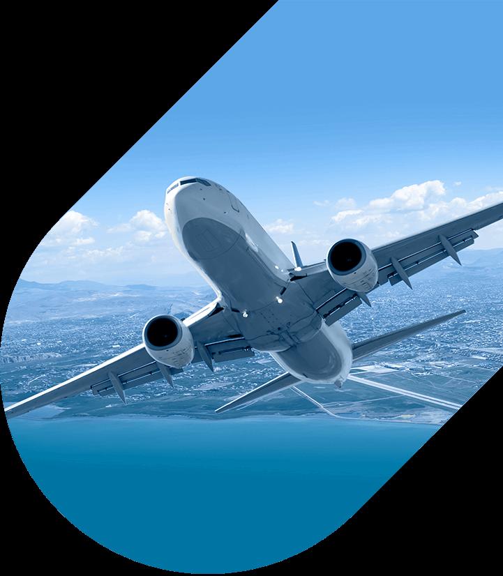 Airplane soaring through sky