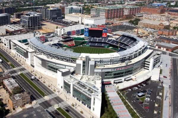 Aerial view of Nationals Park on a sunny day