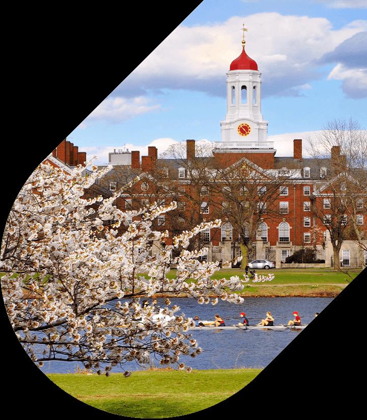 Students rowing near Harvard University