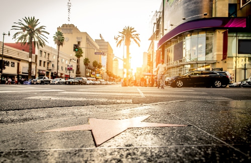 sunset over the Hollywood Walk of Fame