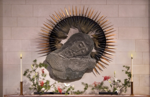 an altar at the washington national cathedral depicting jesus