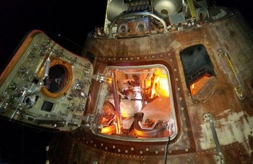exhibit of space satellite module at Space Center Houston