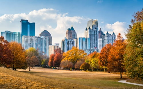 The Atlanta Midtown cityscape from Piedmont Park in fall