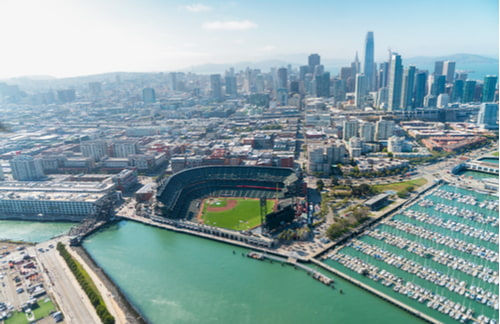 aerial view of san francisco bay with at&t park/oracle park