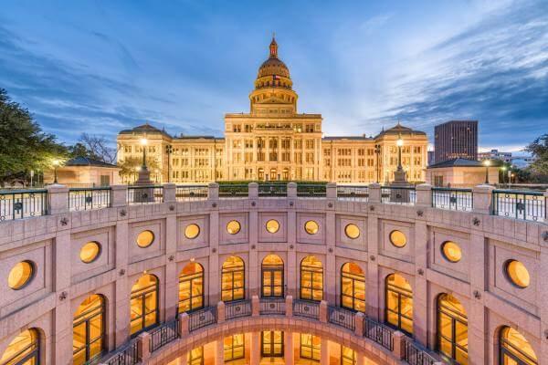 Austin capitol building at night