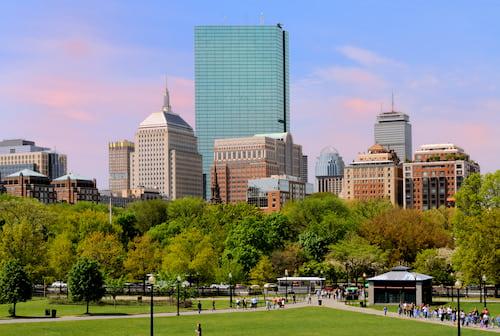 the boston skyline from boston common