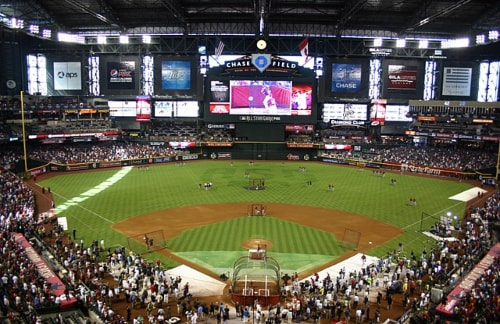 Inside of Chase Field in Phoenix