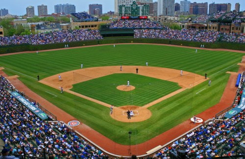 a panoramic view of wrigley field from up and behind home plate