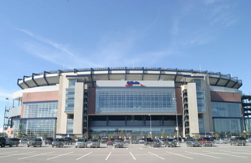 outside view of gillette stadium for the new england patriots