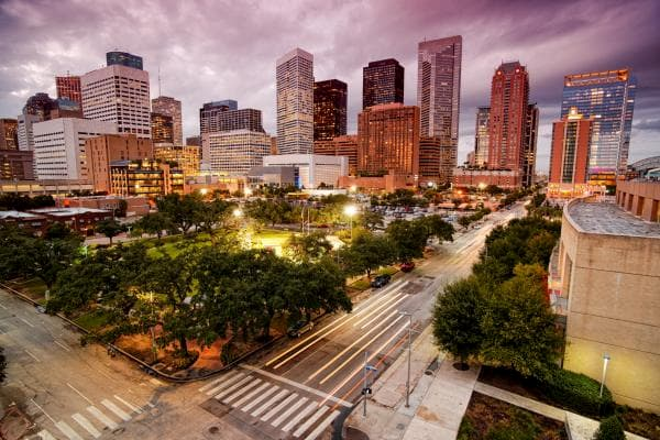 Downtown Houston in the evening