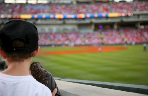 Kid watching baseball game