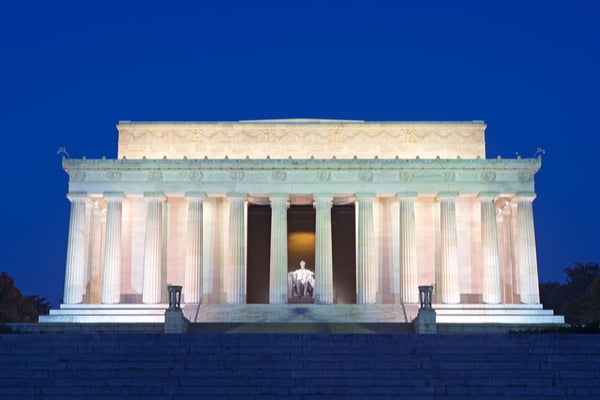 Lincoln Memorial in the evening in Washington DC