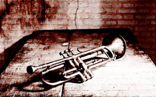 a trumpet lays against a brick background
