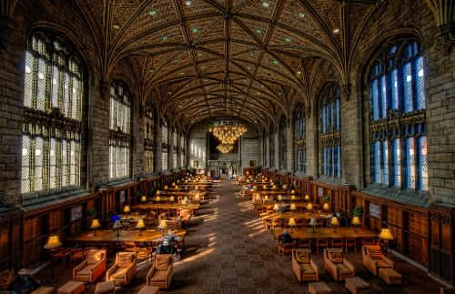 inside view of the University of Chicago library