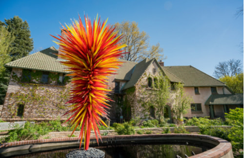 Dale Chihuly glass sculpture in the Denver Botanic Gardens pond