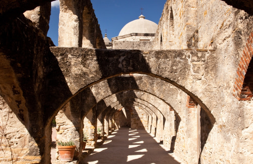 View of the arches leading to the San Juan Mission in San Antonio