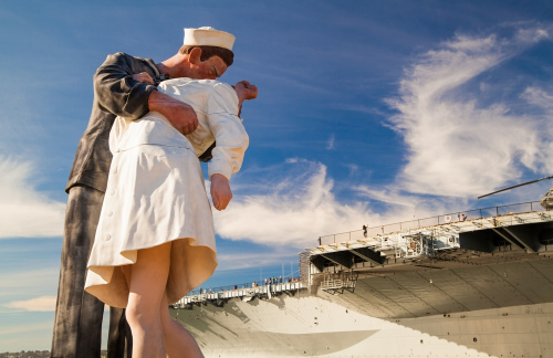 a statue of a navy soldier kissing a civilian at San Diego's USS Midway Museum