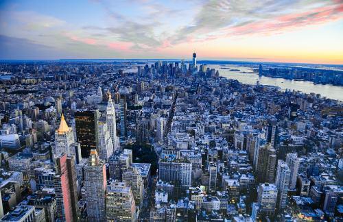 new york city skyline aerial view