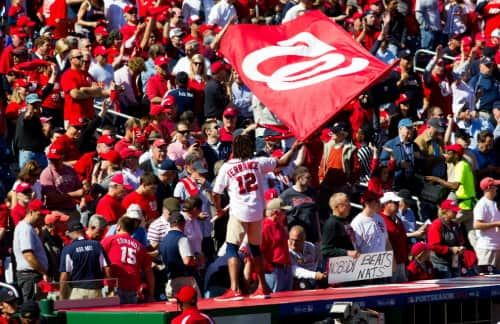A group of fans support the Washington Nationals at Nationals Park