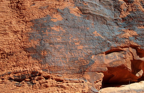 petroglyphs in red rock canyon