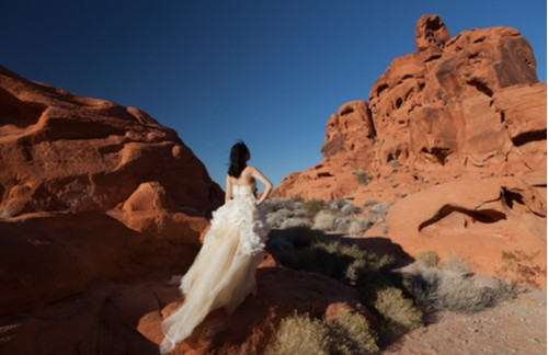 bride among the rock formations in red rock canyon
