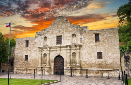 The Alamo at sunset in San Antonio