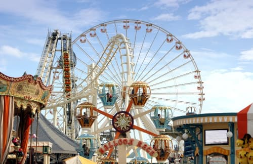 oceanside amusement park attractions at San Diego's Belmont Park