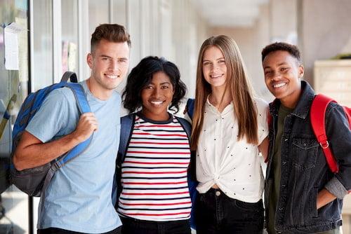 school students in a breezeway