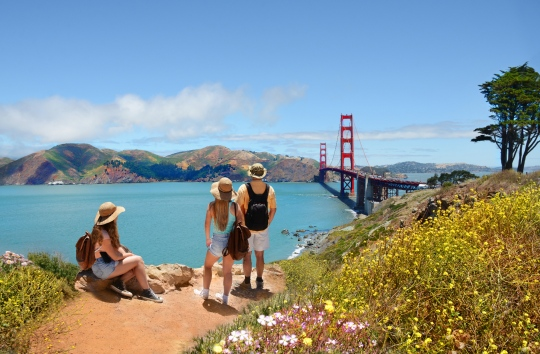 aerial view of golden gate bridge in San Francisco with people looking across the bay