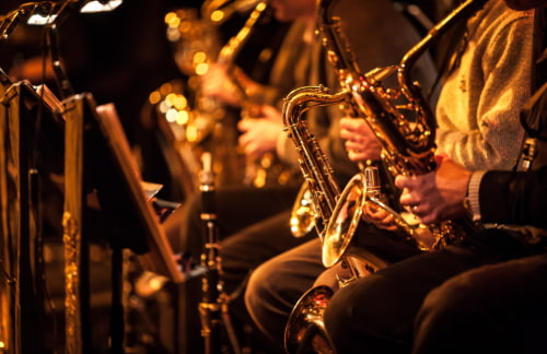 a lineup of saxophone players perform on a stage