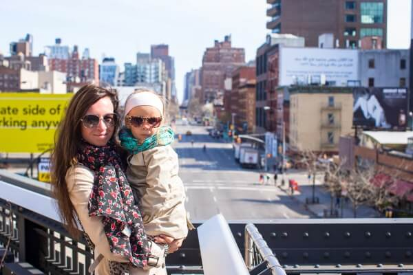 mother and child pose for a picture in New York City