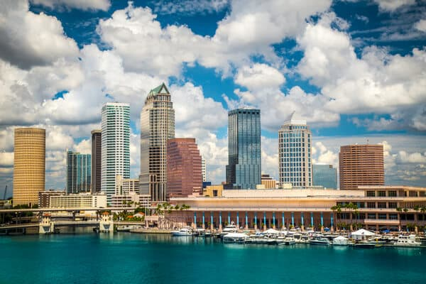 Downtown Tampa with view of water