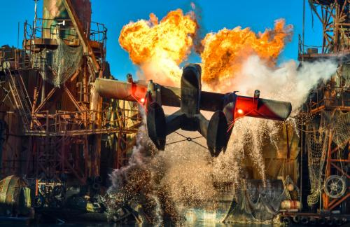 pyrotechnics at a theme park ride at Universal Studios Hollywood
