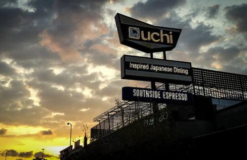 Restaurant sign for Uchi in Houston Texas