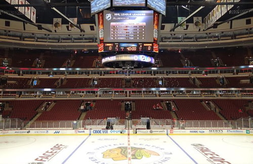 Inside of the United Center ice hockey field before a Chicago Blackhawks match