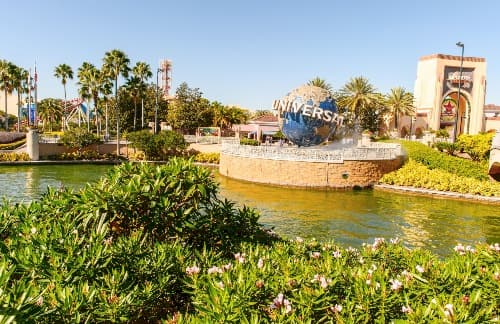 Universal Studios entrance with the iconic globe landmark