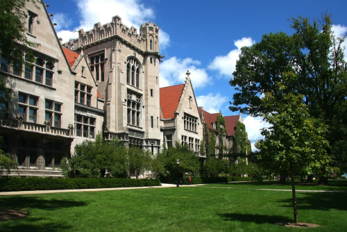 view of a gothic building at the university of chicago