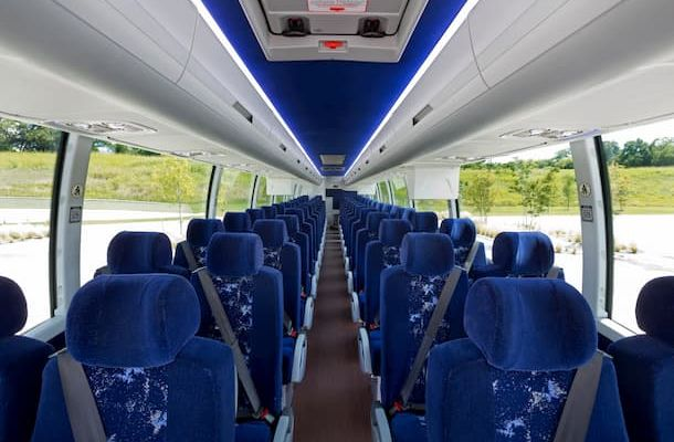 Interior of Volvo bus with blue seats