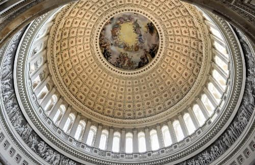 The inner dome ceiling of the Capitol