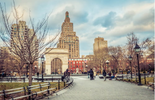 washington square park in the winter near new york univeristy